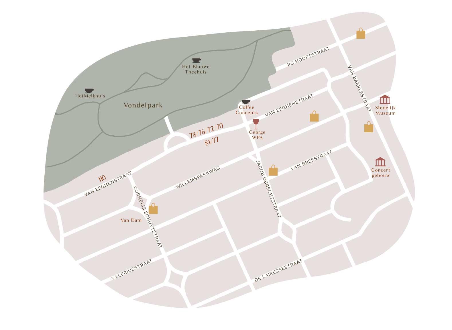 plattegrond omgeving ven eeghenstraat en Vondelpark
