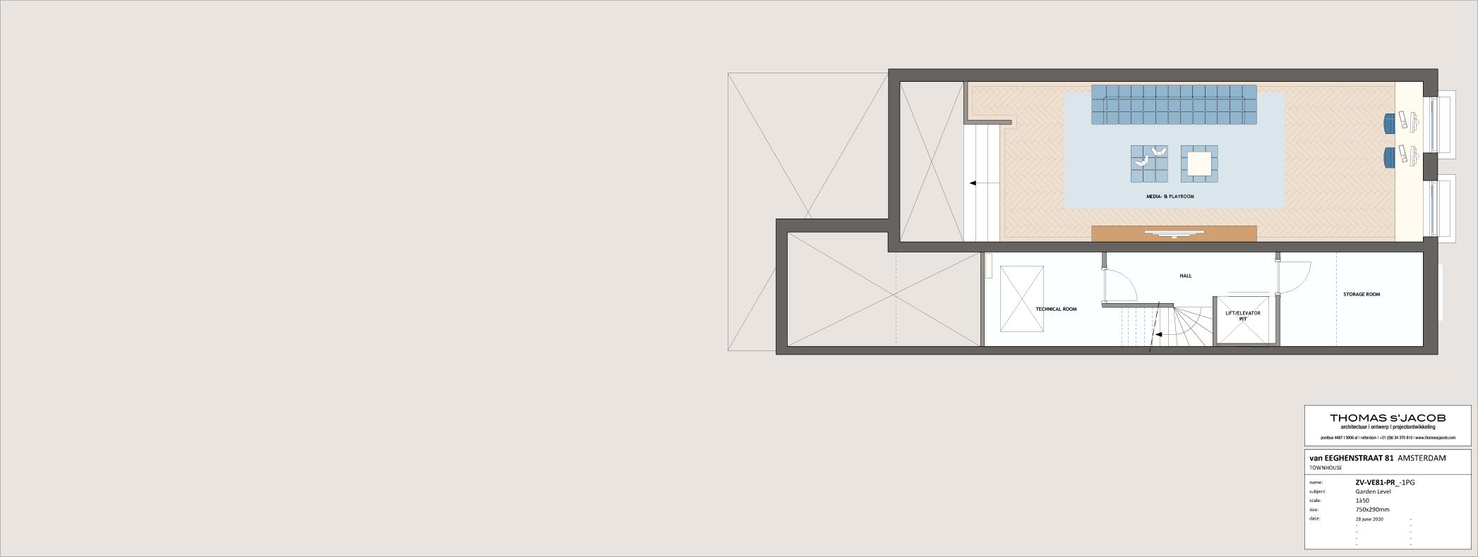 plattegrond van eeghenstraat 81, tuin niveau