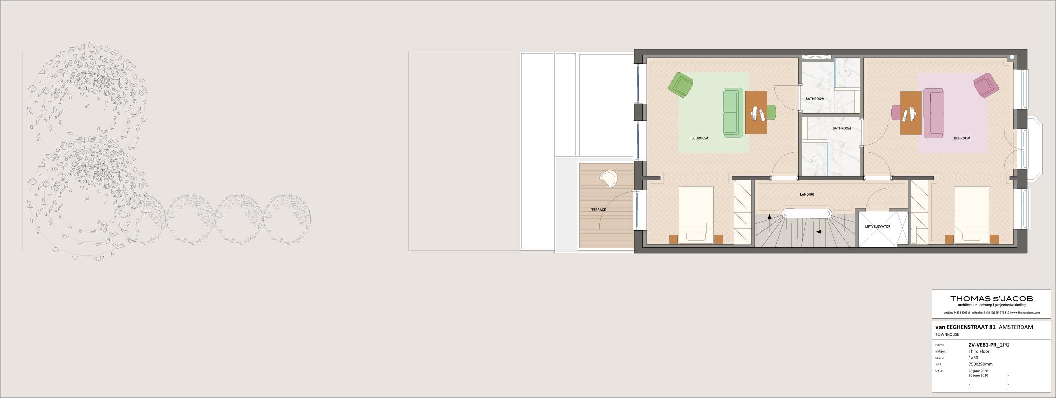 plattegrond van eeghenstraat 81. derde verdieping