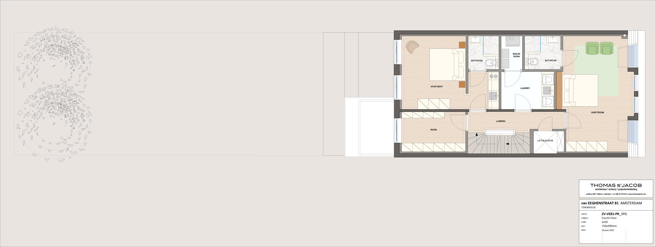 plattegrond 4e verdieping van eeghenstraat 81 amsterdam
