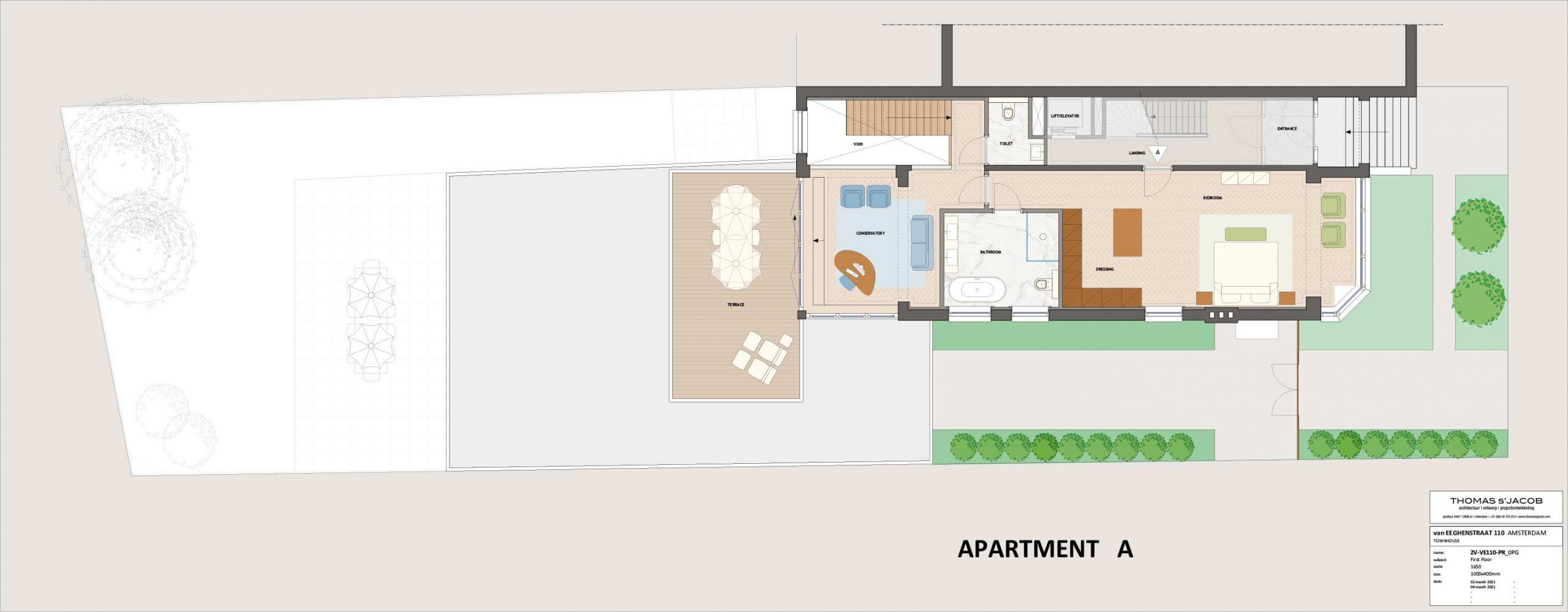 plattegrond vaneeghenstraat 110 appartement A eerste verdieping